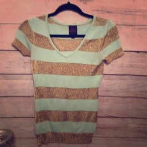 Gold and mInt green knit top